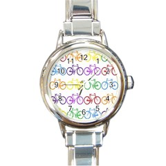 Rainbow Colors Bright Colorful Bicycles Wallpaper Background Round Italian Charm Watch by Simbadda