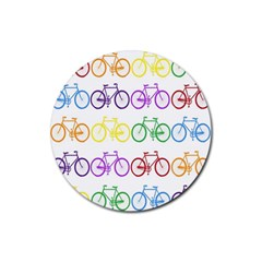 Rainbow Colors Bright Colorful Bicycles Wallpaper Background Rubber Coaster (round)  by Simbadda
