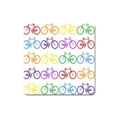 Rainbow Colors Bright Colorful Bicycles Wallpaper Background Square Magnet by Simbadda
