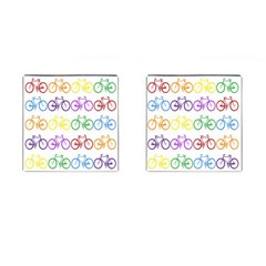 Rainbow Colors Bright Colorful Bicycles Wallpaper Background Cufflinks (square) by Simbadda