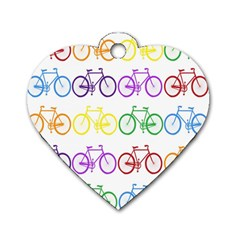 Rainbow Colors Bright Colorful Bicycles Wallpaper Background Dog Tag Heart (one Side) by Simbadda