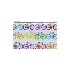 Rainbow Colors Bright Colorful Bicycles Wallpaper Background Cosmetic Bag (small)  by Simbadda