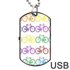 Rainbow Colors Bright Colorful Bicycles Wallpaper Background Dog Tag Usb Flash (one Side) by Simbadda