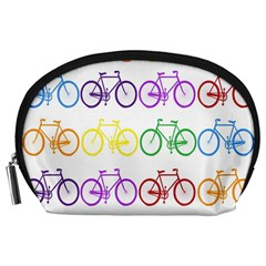 Rainbow Colors Bright Colorful Bicycles Wallpaper Background Accessory Pouches (large)  by Simbadda