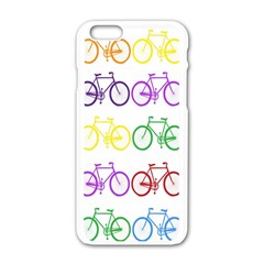 Rainbow Colors Bright Colorful Bicycles Wallpaper Background Apple Iphone 6/6s White Enamel Case by Simbadda