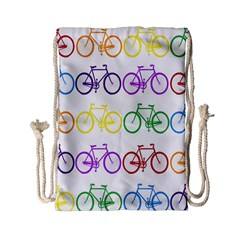 Rainbow Colors Bright Colorful Bicycles Wallpaper Background Drawstring Bag (small) by Simbadda
