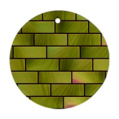 Modern Green Bricks Background Image Ornament (round)