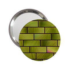 Modern Green Bricks Background Image 2 25  Handbag Mirrors by Simbadda