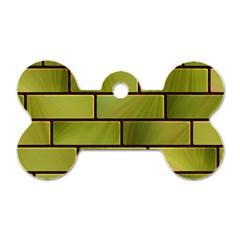 Modern Green Bricks Background Image Dog Tag Bone (two Sides) by Simbadda