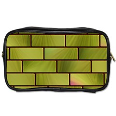 Modern Green Bricks Background Image Toiletries Bags by Simbadda