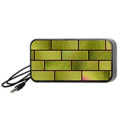Modern Green Bricks Background Image Portable Speaker (black) by Simbadda