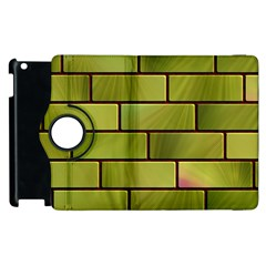 Modern Green Bricks Background Image Apple Ipad 2 Flip 360 Case by Simbadda