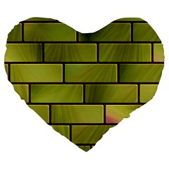 Modern Green Bricks Background Image Large 19  Premium Heart Shape Cushions by Simbadda