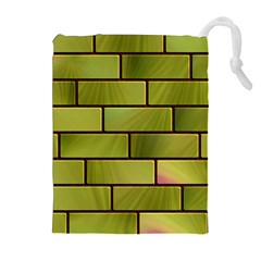 Modern Green Bricks Background Image Drawstring Pouches (extra Large) by Simbadda