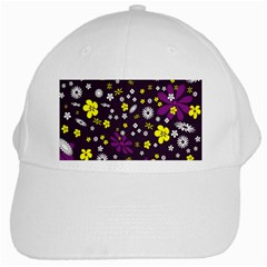 Flowers Floral Background Colorful Vintage Retro Busy Wallpaper White Cap by Simbadda