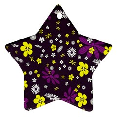 Flowers Floral Background Colorful Vintage Retro Busy Wallpaper Ornament (star) by Simbadda