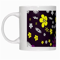 Flowers Floral Background Colorful Vintage Retro Busy Wallpaper White Mugs by Simbadda