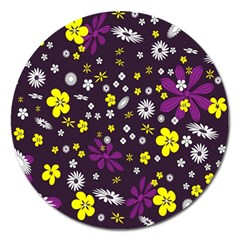 Flowers Floral Background Colorful Vintage Retro Busy Wallpaper Magnet 5  (round) by Simbadda