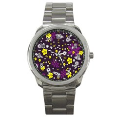 Flowers Floral Background Colorful Vintage Retro Busy Wallpaper Sport Metal Watch by Simbadda