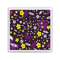 Flowers Floral Background Colorful Vintage Retro Busy Wallpaper Memory Card Reader (square)  by Simbadda