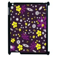 Flowers Floral Background Colorful Vintage Retro Busy Wallpaper Apple Ipad 2 Case (black) by Simbadda