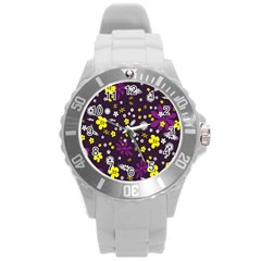 Flowers Floral Background Colorful Vintage Retro Busy Wallpaper Round Plastic Sport Watch (l) by Simbadda