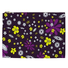 Flowers Floral Background Colorful Vintage Retro Busy Wallpaper Cosmetic Bag (xxl)  by Simbadda