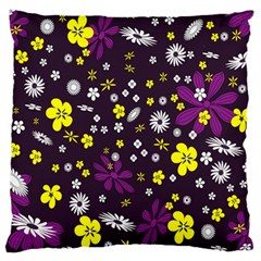 Flowers Floral Background Colorful Vintage Retro Busy Wallpaper Large Flano Cushion Case (two Sides) by Simbadda