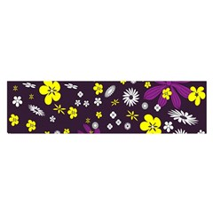 Flowers Floral Background Colorful Vintage Retro Busy Wallpaper Satin Scarf (oblong) by Simbadda