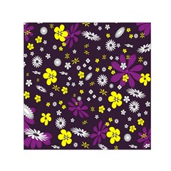 Flowers Floral Background Colorful Vintage Retro Busy Wallpaper Small Satin Scarf (square)