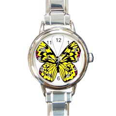 Yellow A Colorful Butterfly Image Round Italian Charm Watch by Simbadda