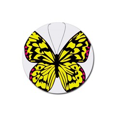 Yellow A Colorful Butterfly Image Rubber Coaster (round)  by Simbadda