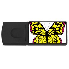 Yellow A Colorful Butterfly Image Usb Flash Drive Rectangular (4 Gb) by Simbadda