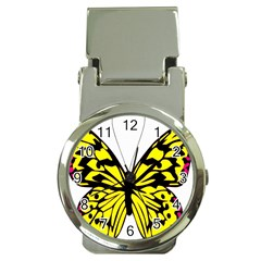 Yellow A Colorful Butterfly Image Money Clip Watches by Simbadda