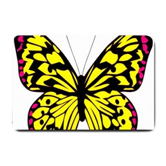Yellow A Colorful Butterfly Image Small Doormat  by Simbadda