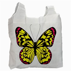 Yellow A Colorful Butterfly Image Recycle Bag (two Side)  by Simbadda