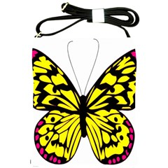 Yellow A Colorful Butterfly Image Shoulder Sling Bags