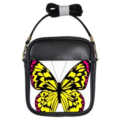 Yellow A Colorful Butterfly Image Girls Sling Bags by Simbadda