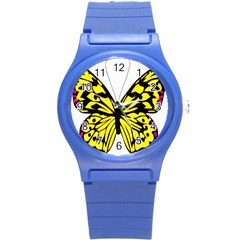 Yellow A Colorful Butterfly Image Round Plastic Sport Watch (s) by Simbadda