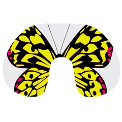 Yellow A Colorful Butterfly Image Travel Neck Pillows by Simbadda