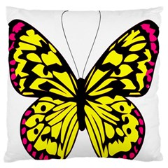 Yellow A Colorful Butterfly Image Large Flano Cushion Case (two Sides) by Simbadda