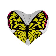 Yellow A Colorful Butterfly Image Standard 16  Premium Flano Heart Shape Cushions by Simbadda
