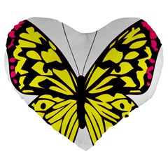 Yellow A Colorful Butterfly Image Large 19  Premium Flano Heart Shape Cushions by Simbadda