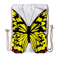 Yellow A Colorful Butterfly Image Drawstring Bag (large) by Simbadda