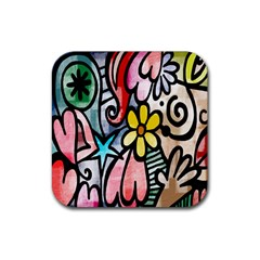 Digitally Painted Abstract Doodle Texture Rubber Square Coaster (4 Pack)  by Simbadda