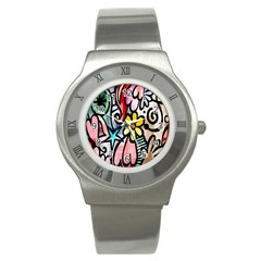 Digitally Painted Abstract Doodle Texture Stainless Steel Watch by Simbadda