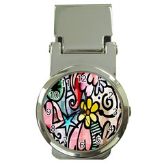 Digitally Painted Abstract Doodle Texture Money Clip Watches by Simbadda