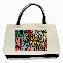 Digitally Painted Abstract Doodle Texture Basic Tote Bag (two Sides)