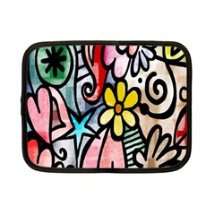 Digitally Painted Abstract Doodle Texture Netbook Case (small)  by Simbadda