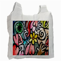 Digitally Painted Abstract Doodle Texture Recycle Bag (two Side)  by Simbadda